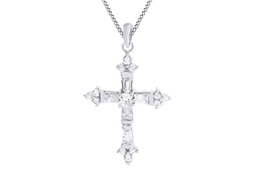 Cross Baguette - AFFY Baguette Cut White Cubic Zirconia Cross Pendant Necklace in14k White Gold Over Sterling Silver