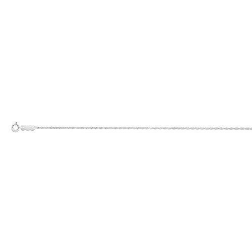 (14k White Gold 0.8mm Sparkle-Cut Singapore Chain With Spring Ring Clasp Necklace - 18 Inch)