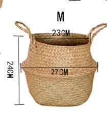 Best Quality - Vases - Modern Hand-Woven Natural Seagrass Belly Basket Crochet Nursery Decor Planter Toy Storage Picnic Basket Foldable Flower Pot - by - 1 PCs