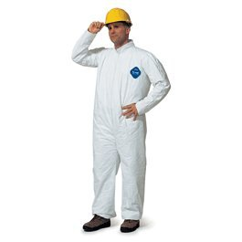 DuPont TY127SWHMD002500 Medium White Safespec 2.0 5.4 mil Tyvek Disposable Coveralls With Front Zipper Closure And Elastic Waist (25 Per Case)