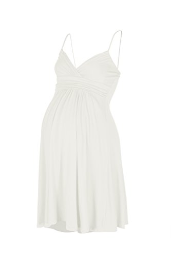 [Beachcoco Women's Maternity Sweetheart Short Dress (M, Off White)] (Maternity Jersey Dress)