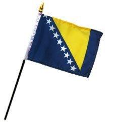 "MWS 4x6 inch Bosnia & Herzegovina Table Desk Flag Mounted on a 10 inch Black Plastic Stick Staff (Super Polyester) Cloth Fabric (Sewn Edges for Durability) 4""x6"" 4inch x 6inch ()"
