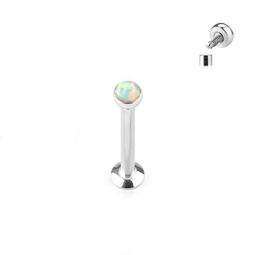 Opal Disc - Amelia Fashion 16 Gauge Flat Disc Opal Labret Stud Internally Threaded 316L Surgical Steel for Lip Chin Ear Cartilage (Choose Size & Color) (Opal White | 16GA (1.2mm) | L.1/4