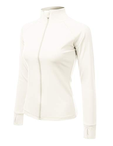 ACTICLO Women's Athletic Jackets Full-Zip Workout Active Sports Coats with Thumb Holes White S