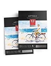2 blocs de papier aquarelle 300 g/m2 ARTEZA | 22,9 x 30,5 cm | 64 feuilles en tout | Papier blanc pressé à froid sans acide | Idéal pour peinture aquarelle et techniques mixtes