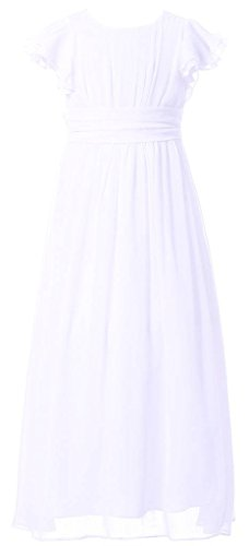 Happy Rose Flower Girl's Dress Prom Party Bridesmaid Dress Long White (Rose Flower Girl Dress)