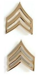 (US Army Sergeant Gold Collar Device Rank Insignia Pair)