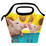 Bettken Lunch Bag Funny Pig Sunflower Pattern Insulated Reusable Lunch Box Portable Lunch Tote Bag Meal Bag Ice Pack for Kids Boys Girls Adult Men Women