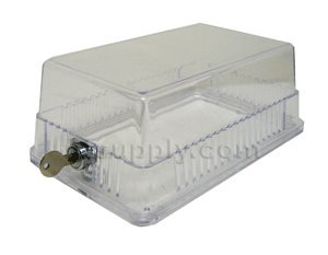 Clear Plastic Thermostat Guard - See Thru - Solid Base (Plastic Thermostat Guard)