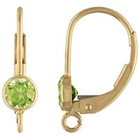 Gold Filled 10.0mm by 16.8mm Leverback Ear Ring With 4.0mm Peridot Bezel Setting. Sold as - 2 Pieces Per Pack - [1-4-10-10-D]