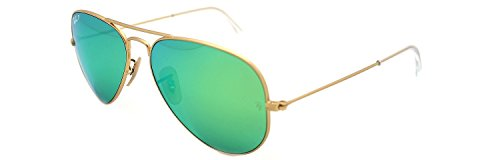 Ray Ban RB3025 112/P9 Sunglasses Gold Frame / Green Polarized Mirror Lens 58mm