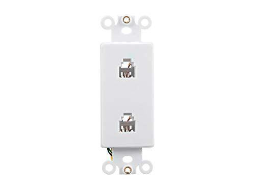 (Monoprice Duplex Phone Jack Decor Insert - White | Used for Cable Television Or Data Line (RG-6, RG-59, Etc.) )