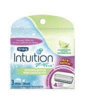 Schick Intuition Moisture Razors Refill, Cucumber Melon, One box containing 3 Refills