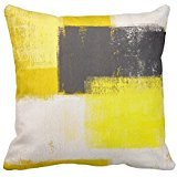 (JSaleStore Grey And Yellow Abstract Art Decorative Throw Pillow Covers 18 x 18 Inch)