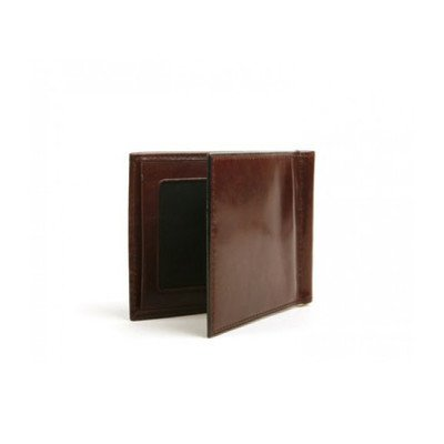 Bosca Mens Old Leather - Bosca Old Leather Mens Money Clip with 2 Credit Pockets (In Dark Brown)