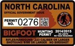 "North Carolina Bigfoot Hunting Permit 2.4"" x 4"" Decal Sticker"