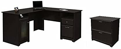 YingHua 2 Piece Office Set with Filing Cabinet and Desk in Espresso Oak