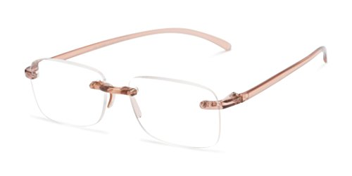 Readers.com The Sage +6.00 Brown Simple Rimless Available in High Powers Rectangle Reading - Sunglasses Fairwind