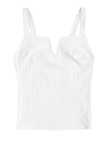 SHEIN Women's V Notch Sleeveless Ribbed Knit Basic Cami Top - Knit Top Halter Shirt
