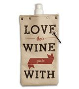 - Tote & Able Love The Wine Your With Design Water,Wine and Beverage Canvas Reusable Flask Bottle & Tote Carrier