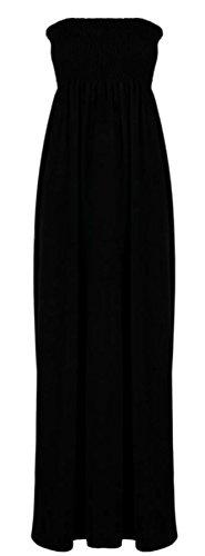 Janisramone Damen Kleid, Einfarbig Schwarz * Einheitsgröße Schwarz