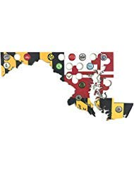 Maryland Flag Beer Cap Map - Glossy Craft Beer Bottle Cap Holder Display - Light Weight, Easy to Hang - Made in USA by Barmmunition