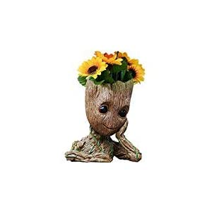 B-BEST Guardians of The Galaxy Groot Pen Pot Tree Man Pens Holder or Flower Pot with Drainage Hole Perfect for a Tiny Succulents Plants and Best Christmas Gift Idea 6″