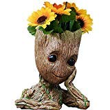 B-BEST Guardians of The Galaxy Groot Pen Pot Tree Man Pens Holder or Flower Pot with Drainage Hole Perfect for a Tiny Succulents Plants and Best Christmas Gift Idea -