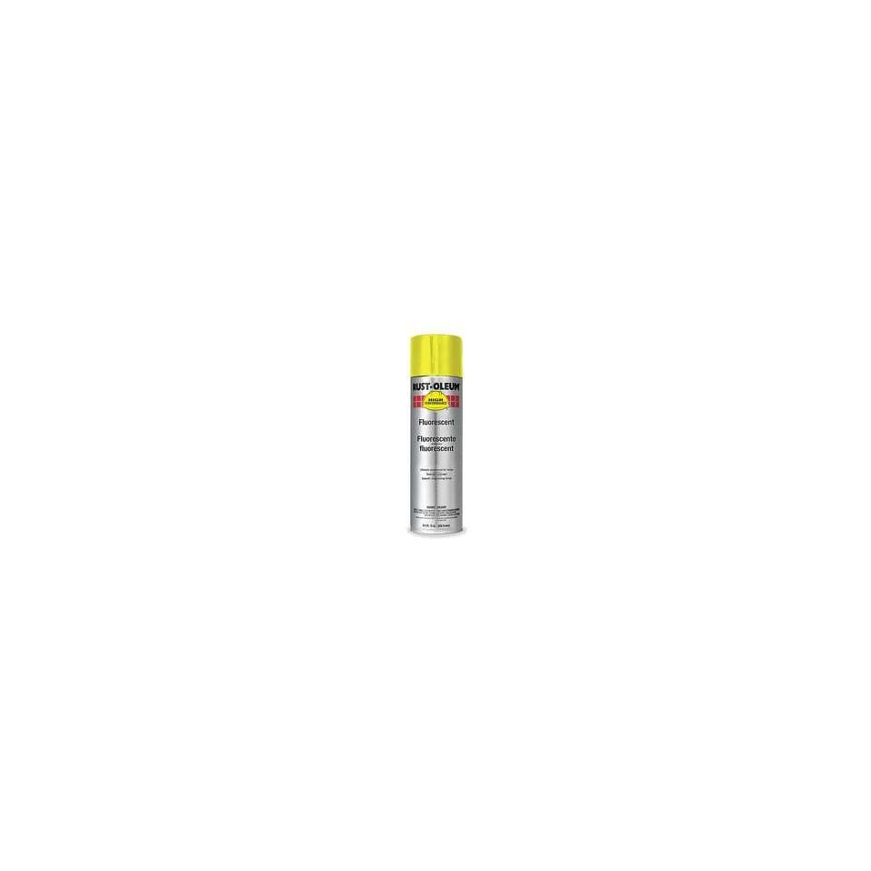 RUST OLEUM Spray Paint, Fluorescent, Yellow, 14 Oz Case of