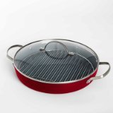 Fiesta 11 Inch Aluminum Non-Stick Round Grill Pan with Wire Rack, Scarlet