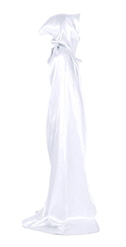 White Unisex hooded Robe Cape Ghost Full Length Cloak Costume 130m M - Grim Reaper Plus Size Adult Mens Costumes
