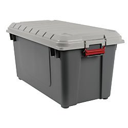Office Depot Plastic Air-Tight Storage Trunk, 21.8 Gallons, Gray, 250222