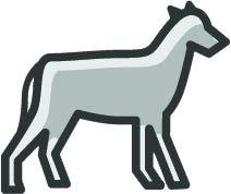 Simple Nursery Animal Outline Cartoon Emoji Vinyl Sticker, Gray Donkey (Donkey Outline)