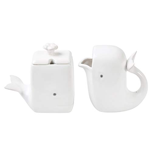 What On Earth White Whale Creamer & Sugar Set - Dolomite Cream Pitcher & Sugar Bowl -