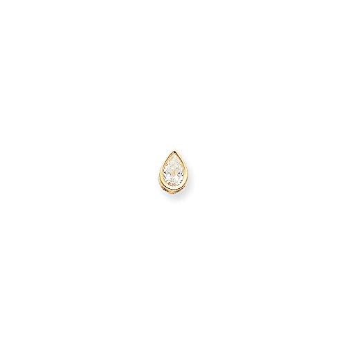 14kt Yellow Gold 9x6mm Pear Bezel Pendant (Single Pendant Mounting)