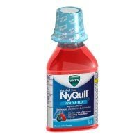Vicks Nyquil Cold & Flu Nighttime Relief Liquid, Alcohol Free, Berry Flavor 12 oz (Pack of 12)