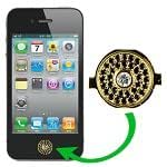 Golden For iPhone 4 Home Button Repair with Black Rhinestone