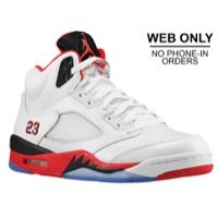 Nike Mens Air Jordan 5 Retro Black Tongue White/Fire Red/Blk Leather Basketball-Shoes Size 12]()