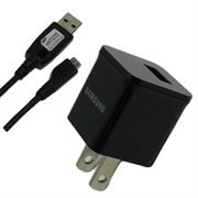 Samsung OEM 1.0A Original Home Wall AC Travel Charger Adapter and USB 2.0 Data Sync Connect Transfer Charge Cable - Non-Retail Packaging - Black