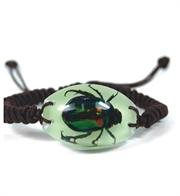 Rutelian Beetle Bracelet - Green Beetle on a Glow in the Dark Background - Braided Black Cord Adjusts up to 10