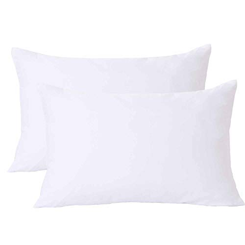 NANKO Queen Pillowcases 2 Pack,Bed Pillow Shams/Covers with Zipper, Soft Comfortable Microfiber for Home Hotel Bed, Solid White 20 x 30 inch