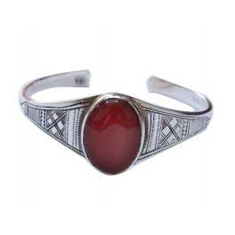 bijoucolor - Gros Bracelet rigide touareg en argent gravéet medaillon en cornaline