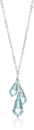 Sterling Silver Linear Teardrops Pendant Necklace, (Three Drop Necklace)