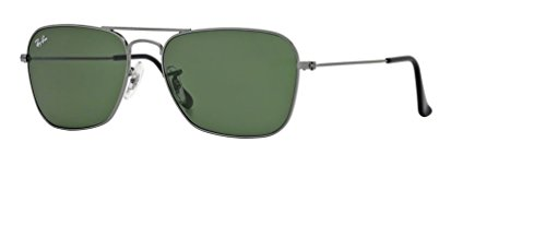 Ray Ban RB3136 CARAVAN 004 58M Gunmetal/Crystal Green Sunglasses For Men For ()