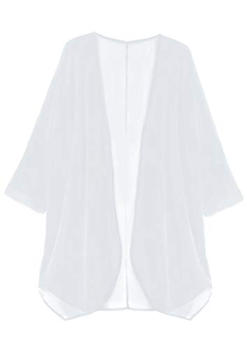 (Finoceans Tunic Beachwear Cover Ups Women's Cardigans White Large)