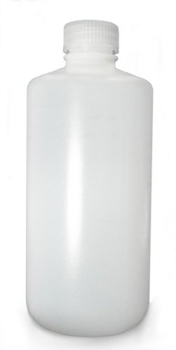 Qorpak PLA-03155 Natural HDPE Narrow Mouth Lab Style Bottle with Natural Polypropylene Linerless Cap, 8oz Capacity, 24mm Stopper (Case of 72)