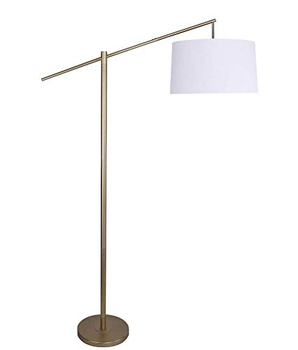 """Grandview Gallery 69"""" Task Floor Lamp Plated Gold w/Off-White Shade for Living Room, Study and More"""