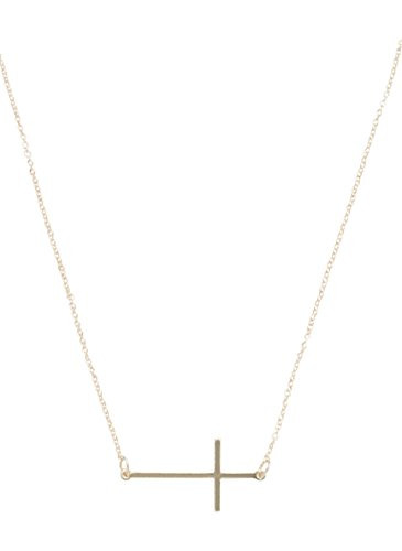 maurices Women's Sideways Cross Necklace Misc (Gold Multi Colored Cross)