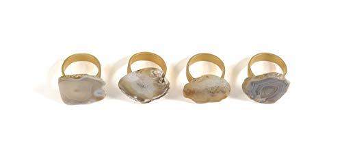 Shiraleah Home Set of 4 Agate Napkin Rings, Natural