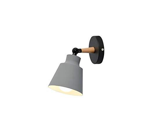 (Retro Lightmacarons Iron Art Wall Light Fixture Modern Simple Adjustable Swing Arm Wooden Wall Lamp E27 Single Head Led Wall Light)